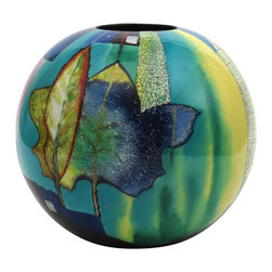 Hebi Arts - Round Lacquer Vase, Blue - Looking for an unique, high quality vase? Our hand-painted lacquer vase is a true piece of art. Each piece, with changing colors and abstract patterns, is inlaid with egg shells and mother of pearl for enhanced details.