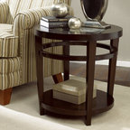"""Hammary - Urbana Round End Table in Dark Merlot Finish - """"If you're looking for furniture that is sleek and sophisticated"""
