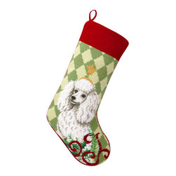 """Peking Hanidcraft - Miniature Poodle Needle Point Stocking - With its charming vintage design and intricate needle point quality– our adorable pet stockings are ready to fill with toys and treats for your best friends!  This well made stocking features a plush velveteen color coordinated back and is meant to last for years!  Indeed Decor will donate 20% of profits to animal rescue charities.  Dry Clean Only. 11"""" x 18""""."""