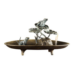 """SPI - Frog Couple Table Fountain - -Size: 10.5"""" H x 19.5"""" W x 11"""" D"""