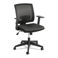 Safco - Safco Mezzo Series Task Chair, Mesh Back, Upholstered Seat, Black Seat/Back - Designed to bring a little style to your space with a mesh back for breathability and an upholstered seat for breathability. Various mechanisms for personal comfort. Arms adjust to provide comfort to each user. With so many ways to ensure your comfort, this chair is making a great financial statement.