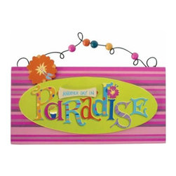 "WL - 5.75 Inch ""Paradise"" Green with Pink Stripes Beaded Sign Door Hanger - This gorgeous 5.75 Inch ""Paradise"" Green with Pink Stripes Beaded Sign Door Hanger has the finest details and highest quality you will find anywhere! 5.75 Inch ""Paradise"" Green with Pink Stripes Beaded Sign Door Hanger is truly remarkable."