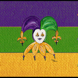 Caroline's Treasures - Mardi Gras Indoor Or Outdoor Mat 18X27 Doormat - INDOOR / OUTDOOR FLOOR MAT 18 inch by 27 inch Action Back Felt Floor Mat / Carpet / Rug that is Made and Printed in the USA. A Black binding tape is sewn around the mat for durability and to nicely frame the artwork. The mat has been permenantly dyed for moderate traffic and can be placed inside or out (only under a covered space). Durable and fade resistant. The back of the mat is rubber backed to keep the mat from slipping on a smooth floor. Wash with soap & water.