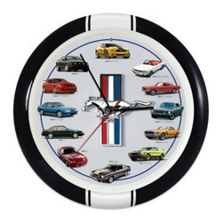 Mark Feldstein & Associates Inc. - History of Mustang 13-Inch Sound Wall Clock - Buckle up, because if you love Mustangs, you need the History of Mustang wall clock. Featuring images of 12 iconic Mustangs, from the 1964 1/2 coupe to the 2013 Boss 302, this unique collectible also plays authentic engine sounds for that hour's car.