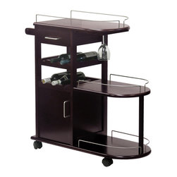 Winsome Wood - Winsome Wood Entertainment Cart w/ Glass Rack & Drawer in Dark Espresso - Bring the fun right to your guests with this handy rolling entertainment cart. Hold and tote wine bottles and glasses and more. 2 drawers and 3 shelves plus a rod for bar towels. Kitchen Cart (1)