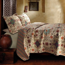 Greenland Home Fashions Esprit Spice Quilt Set - The Greenland Home Fashions Esprit Spice Quilt Set features a whimsical bohemian design that pairs well with bedrooms both traditional and modern. Both the cover and the fill of the piece are plush, 100% cotton that's soft, comfy, and thick. The cover features a 2-in-1 reversible pattern, with an Art Deco-inspired on one side and an all-over stripe on the reverse. One matching sham included in twin set; two matching pillow shams are included in full, queen, and king sets (dimensions: 20W x 26L inches). Available in king, queen/full, and twin sizes (see below for dimensions).Quilt DimensionsKing: 106W x 92L inchesQueen/full: 88W x 92L inchesTwin: 68W x 86L inchesAbout Greenland Home FashionsFor the past 16 years, Greenland Home Fashions has been perfecting its own approach to textile fashions. Through constant developments and updates - in traditional, country, and forward-looking styles the company has become a leading supplier and designer of decorative bedding to retailers nationwide. If you're looking for high quality bedding that not only looks great but is crafted to last, consider Greenland.