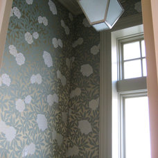 Transitional Powder Room by CMR Interiors & Design Consultations Inc.