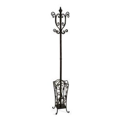 Metal Coat Rack with Umbrella Stand - With British sensibility, this metal coat rack and umbrella stand is tasteful and functional.