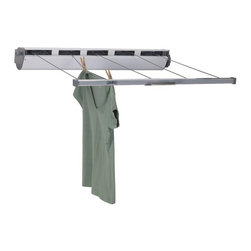 "Household Essentials - 5-Line Retractable Clothes Dryer - Embrace the feel of the beautiful outdoors for your laundry with this 5-Line Retractable Dryer.  Benefiting from natures energy clothes and linens dry naturally on a massive 170 of line space.  This 5-line system extends to 34 and releases easily for smooth retraction into a protective aluminum case that keeps the line dry and clean.  A tightening knob keeps lines taut and tangle free.  Its lightweight and heavy-duty construction make this full size retractable line perfect for outdoor or indoor use.  Mount it on a wall outdoors in the garage or basement or on the porch.  Be environmentally and economically intentional and delight in the freshness of line-dried laundry.  Go on—make Grandma proud. Details:Light weight and heavy duty construction use indoors or outdoors. Aluminum casing keeps clothesline clean and dry. Large knob keeps lines taut and tangle free. Smaller knob locks clothesline and releases easily for retraction. Can be mounted on a wall outdoors in the garage basement or laundry room. Extends to 34.Provides 170 of drying space. Dimensions:6.5""l x 36.5""w x 8""d16.5cm x 92.7cm x 20.3cm  Tips:Dryer can be mounted on a wall outdoors in the garage or basement on the porch."