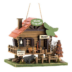 Koolekoo - Woodland Cabin Birdhouse - Let the call of the wild welcome birds into your yard with this adorable log cabin birdhouse. Fashioned after a vacation rental in the heart of the wilderness, it features rustic accents, including a moose head sign, rope fencing, and a cute black bear cub on the prowl for a snack.