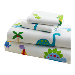 Wildkin - Olive Kids Dinosaur Land Twin Sheet Set - Prehistoric fun! Our Dinosaur Land sheet set is a land where cute dinosaurs roam. All sorts of Dinos, foot prints, palm trees and even volcanoes cover these super soft 100% cotton percale sheets!
