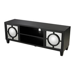 Sterling Industries - Sterling Industries 136-004 Gloss Black Media Console w/ Convex Mirror - Media Console (1)