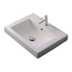 Scarabeo - Square White Ceramic Built-in Sink, One Hole - Contemporary style built-in square white ceramic sink. Trendy bathroom vanity sink with overflow. Available with no hole, one hole, or three holes. Made in Italy by Scarabeo.