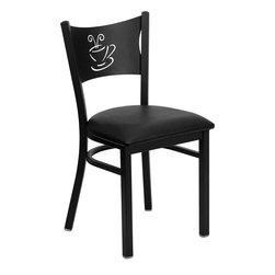 Flash Furniture - Hercules Series Black Coffee Back Metal Restaurant Chair with Black Vinyl Seat - Provide your customers with the ultimate dining experience by offering great food, service and attractive furnishings. This heavy duty commercial metal chair is ideal for Restaurants, Hotels, Bars, Lounges, and in the Home. Whether you are setting up a new facility or in need of a upgrade this attractive chair will complement any environment. This metal chair is lightweight and will make it easy to move around. For added comfort this chair is comfortably padded in vinyl upholstery. This easy to clean chair will complement any environment to fill the void in your decor.