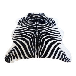 "Hollywood Love Rugs - Super Plush Black-White Faux Zebra Hide Rug, 4'10"" x 6'8"" Large - Super plush short pile Faux Zebra Hide Rug black and white. This is a very high quality faux fur rug with a soft filling material that adds thickness and softness to this faux hide. Truly exotic with with authentic exotic animal skin rug appearance. These beautiful and affordable fake animal hide rugs are made with a rubberized non-skid backing. Washable, hypoallergenic, stain and soil resistant and naturally fire retardant without the use of chemical treatments. It's non-skid backing makes these rugs appropriate for every room in the home, including the bath or adventurous child's room. Vacuum only with hand held non-agitator vacuum. Wash with cold water and Woolite on gentle cycle and air dry."