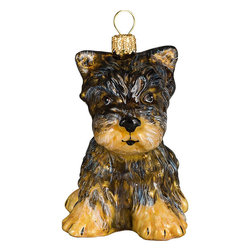 Frontgate - Yorkshire Terrier Puppy Ornament - Each ornament takes up to 7 days to produce. Constructed of 100% European-made glass. Arrives in a handsome black lacquered box for gifting and safekeeping. Hanger is included for easy display. Our collectible Yorkshire Terrier Ornament from Joy to the World was created with the utmost attention to quality and detail. The finest artisans in Poland individually mouth blow and hand paint each ornament, achieving new levels of innovation and artistic integrity in their designs. Using only traditional old world production methods and materials sourced from European countries, they ensure that each ornament is an impressive work of art that will be treasured for generations. . . . . Made in Poland.
