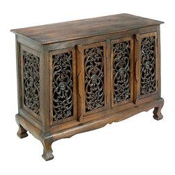 None - Flowers and Vines Storage Cabinet/ Sideboard Buffet - Add an exotic Thai touch to your home decor with this intricately carved storage cabinet. This sideboard buffet features a climbing vines design.