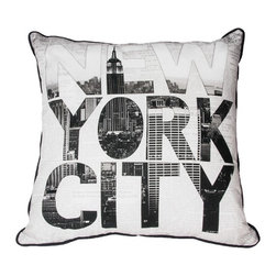 Ny Type Decorative Pillow - Bring the bustling streets of one of the worlds most beloved cities to your home with the NY type pillow from the Graham & Brown Pillow collection. Designed in striking black and white and featuring the iconic New York skyline, this pillow is sure to bring the atmosphere of the iconic city to your home. Made from 100% cotton at the beautiful size of 50x50cm and generously filled with polyester hollow fibre this quirky pillow is both plush and cosy. Featuring a complimenting coloured back and colour co-ordinating piping and zip, each cushion in our unique range is finished to perfection.