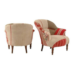 """Used Antique French Chairs - These darling patchworks style chairs are sure to cozy up any space!    From the Seller: """"I bought these little beauties from the cutest Irish woman at the Brimfield, MA antique fair. She had the most gorgeous chairs from France that she had reupholstered in beautiful French fabrics. I wanted them all... I bought 5, they are the first two that I am willing to part with. """""""