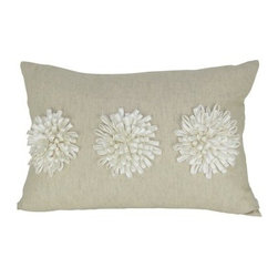 Design Accents Dahlia Pillow - 14L x 20W in. - The stylized charm of the Design Accents Dahlia Pillow - 14L x 20W in. is the perfect way to accent your bed, sofa, or chair. High-quality cotton construction ensures lasting beauty. This modern, rectangle-shaped pillow features a hand-embroidered floral design. Available in various colors so you can get the look that's just right for you.