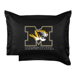 Sports Coverage - Missouri Tigers Locker Room Collection Pillow Sham - Show your team spirit with this officially licensed 25 x 31 Missouri Tigers sham. There is a 2 flanged edge that decorates all four sides of each Missouri NCAA sham. Made of 100% polyester jersey mesh, just like the players wear, with screen printed Missouri Tigers logo in the center. Envelope closure in back. Fits standard pillow. Coordinates with Missouri Locker Room Collection. 3 overlapping envelope closure is on back.