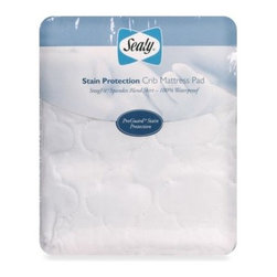 Sealy - Sealy Stain Protection Crib Mattress Pad - Keep your baby's mattress and bedding cleaner longer with the featured repel and release technology. With the SecureStay stretch skirt for a perfectly snug fit, mattress pad will stay in place. The quilted top will feel comfortable and soft to baby.