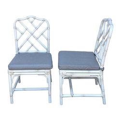 SOLD OUT! Ballard Designs White Macau Side Chairs - A Pair - $600 Est. Retail - -