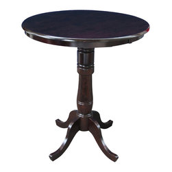 """International Concepts - International Concepts 30"""" Round Pub Table in Rich Mocha - International Concepts - Pub Tables - K1530RT6B2 - This beautifully designed Round Pedestal Dining Table constructed in solid wood is perfect for any home decor."""