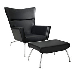Modway Furniture - Modway Class Leather Lounge Chair in Black - Leather Lounge Chair in Black belongs to Class Collection by Modway Gather strength between two joined wingtips with the captivating First Class Chair. Perched on two back and fore chrome legs, the piece perfectly illustrates the correspondence of elements in motion. Complete with a capacious ottoman, experience incredible style without sacrificing on comfort. Set Includes: One - First Class Chair One - Ottoman Lounge (1)
