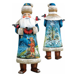 """Artistic Wood Carved Santa Claus and Shepherd Boy Sculpture - Measures 11""""H x 5""""L x 4.75""""W and weighs 4 lbs. G. DeBrekht fine art traditional, vintage style sculpted figures are delightful and imaginative. Each figurine is artistically hand painted with detailed scenes including classic Christmas art, winter wonderlands and the true meaning of Christmas, nativity art. In the spirit of giving G. DeBrekht holiday decor makes beautiful collectible Christmas and holiday gifts to share with loved ones. Every G. DeBrekht holiday decoration is an original work of art sure to be cherished as a family tradition and treasured by future generations. Some items may have slight variations of the decoration on the decor due to the hand painted nature of the product. Decorating your home for Christmas is a special time for families. With G. DeBrekht holiday home decor and decorations you can choose your style and create a true holiday gallery of art for your family to enjoy. All Masterpiece and Signature Masterpiece woodcarvings are individually hand numbered. The old world classic art details on the freehand painted sculptures include animals, nature, winter scenes, Santa Claus, nativity and more inspired by an old Russian art technique using painting mediums of watercolor, acrylic and oil combinations in the G. Debrekht unique painting style. Linden wood, which is light in color is used to carve these masterpieces. The wood varies slightly in color"""