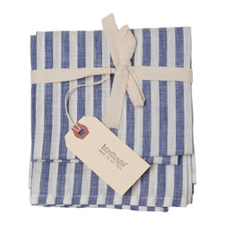 Birdkage - Montauk Tea Towels, Set of 2 - Fresh as a summer breeze, these blue and white striped tea towels will have you dreaming of lemonade and flip flops. They add beachy color and classic style hanging in your kitchen, lining a breakfast tray or complementing a place setting as oversize napkins. The textured linen features contrasting topstitching for skiff-worthiness, and come in sets of two. Pick up a bunch for yourself or your favorite host or hostess.