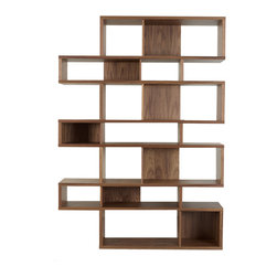 Temahome - London Composition, Walnut Frame, Walnut Backs - Who says a bookshelf has to be commonplace? Show off your books, media and objets d'art on seven chic, unevenly stacked shelves. Choose the frame and back panel finishes for a customized piece that's clean, contemporary and far from ordinary.