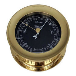 """Weems & Plath Atlantis Barometer Black Dial - The weems  plath atlantis barometer black dial measures 4"""" dial x 5.5"""" base x 2.75"""" depth. The front-opening screw bezel case is constructed of solid, forged brass with a coat of lacquer to ensure a lasting shine. This barometer is calibrated for altitudes to 3,500' above sea level. It features fully adjustable, temperature compensated aneroid movement with inch and millibar scales. Several wood bases are available for this barometer. It comes with complete instructions and mounting hardware. This item carries a limited lifetime warranty."""