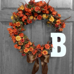 Hand Made Wreaths - This monogram fall decor item for your home will help with decorations to make your family and friends feel welcomed, cherished, and festive for autumn!