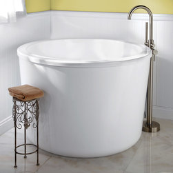 """47"""" Caruso Acrylic Japanese Soaking Tub - Equipped with an integral seat and a deep interior, this modern round soaking tub creates a spa-like atmosphere in your own home."""