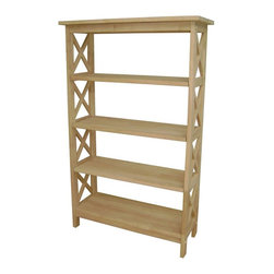 International Concepts - 5 Tier X-Sided Unfinished Shelf Unit - 3 Adjustable shelves. Made of Solid Parawood. Assembly required. 30 in. W x 12 in. D x 48 in. H (44 lbs.)