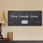 Live, Laugh, Love Chalkboard Personalized Canvas Print - 18W x 8H in. - With its personalized name plate and chalk on blackboard font, the Live, Laugh, Love Chalkboard Personalized Canvas Print adds a nostalgic touch to any room. For indoor use only, this stylish canvas print may be personalized with 1 line up to 15 characters long.About JDS MarketingLike many great start-ups, JDS Marketing started in a garage. It was 1992 when brothers Steve and Jeff Deters came up with their concept of developing a unique line of personalized wedding party gifts. JDS Marketing is based in Minnesota and delivers unique gifts that have been personalized by sublimation, diamond engraving, laser etching, digital printing, embroidery, and screen printing. JDS currently supplies personalized gifts to over 2,000 retail accounts, shipping several hundred gift orders each day.