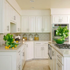 kitchens - travertine tiles floor white kitchen cabinets granite countertops coo