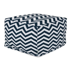 Majestic Home Goods - Navy Chevron Large Ottoman - Add a little character to your living room or patio with the Majestic Home Goods Chevron large ottoman. This ottoman is the perfect accessory to add comfort and style to any room while functioning as a decorative foot stool, pouf, or coffee table. Woven from outdoor treated polyester, these ottomans have up to 1000 hours of U.V. protection and are able to withstand all of nature's elements. The beanbags are eco-friendly and feature a zippered slipcover. Spot clean slipcover with mild detergent and hang dry. Do not wash insert.