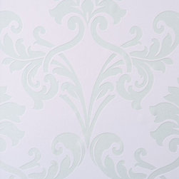 Walls Republic - Miss Passion Baby Pink Wallpaper R1457, Sample - Miss Passion is a traditional large scale damask pattern in a variety of contemporary colour schemes. It can create a vintage or transitional scheme with a metallic sheen. Use it in a bedroom or dining room for a bold look.