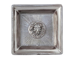 """Cornerstones Courage Pewter Tray - Large - """"Courage: Fortune Favors the Brave"""" is inscribed into the back of this regal and dramatic pewter desk tray.  A heartfelt gift for someone of either gender who had shown their quality as a leader or a protector, the tray is adorned with a radiant lion's head, expressively molded for a heraldic homage to those who look life in the eye.  Angled edges confine contents, making a useful tabletop element."""