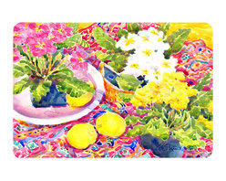 Caroline's Treasures - Flower - Primroses Kitchen Or Bath Mat 20X30 - Kitchen or Bath COMFORT FLOOR MAT This mat is 20 inch by 30 inch.  Comfort Mat / Carpet / Rug that is Made and Printed in the USA. A foam cushion is attached to the bottom of the mat for comfort when standing. The mat has been permenantly dyed for moderate traffic. Durable and fade resistant. The back of the mat is rubber backed to keep the mat from slipping on a smooth floor. Use pressure and water from garden hose or power washer to clean the mat.  Vacuuming only with the hard wood floor setting, as to not pull up the knap of the felt.   Avoid soap or cleaner that produces suds when cleaning.  It will be difficult to get the suds out of the mat.