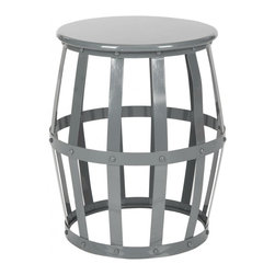 Safavieh - Orianne Stool - A modern take on a classic round stool, Orianne is an open and airy piece that works exceptionally well in small or dark rooms. With its open lattice design finished in high gloss grey, this iron stool does double duty as an extra perch or a side table. Use the Orianne stool in a family room, bedroom or even to hold towels in the master bath.