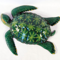 Tropical Green Sea Turtle Beach Tiki Bath Kids Wall Decor - Hang these sea turtles on the wall to liven up any bedroom or bathroom. This hand-painted wall decor has a layered lacquer finish and is constructed from a durable lightweight plastic composite. Beautiful and fun at the same time!