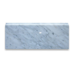 """Stone Center Corp - Carrara Marble Baseboard Molding 4x12 Polished - Carrara white marble baseboard moulding 4"""" width x 12"""" length x 3/4"""" thickness"""