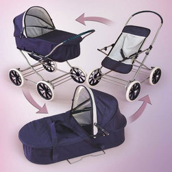 Badger Basket - Badger Basket Just Like Mommy Navy and White 3-in-1 Doll Pram - 09922 - Shop for Living from Hayneedle.com! Offer children the perfect way to spend hours of fun with their favorite baby dolls with the stylish versatility of the Badger Basket Just Like Mommy Navy and White 3-in-1 Doll Pram. Little mommies can use this doll set in three ways as it converts easily from adorable doll pram to folding stroller as well as a handy doll carrier with carry handles and foam mattress all adorned in a cute Navy and White pattern. As a doll pram it features a cute canopy and a gentle rocking motion. This pram can also be used as a carrier and includes a fabric boot/cover foam pad and carrying handles. Lift the carrier off the pram to reveal a cute reclining stroller. Perfect for dolls up to 24-inches it also includes a rubber grip on the stroller handle and easy rolling 7.5-inch wheels. Some assembly required. Recommended for children 3 years and up. Not for use with real infants or pets. Badger Basket CompanyFor over 65 years Badger Basket Company has been a premier manufacturer of baskets bassinets bassinet bedding changing tables doll furniture hampers toy boxes and more for infants babies and children. Badger Basket Company creates beautiful and comfortable products that are continually updated and refreshed bringing you exciting new styles and fashions that complement the nostalgic and traditional products in the Badger Basket line.
