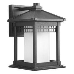 Progress Lighting - Progress Lighting P6001-31 Merit Single-Light Medium Aluminum Outdoor Wall Black - Square outdoor wall lantern with pagoda-like cap will delight your visitors.Features: