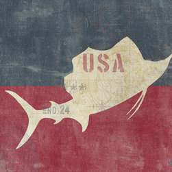"One Red Buffalo - Nautical Sailfish Flag, 27"" X 40"" - The perfect wall decor with nautical character to show your passion for the sea. This print is complete with subtle seafaring elements on a weathered looking canvas background and finished off with nautical inspired grommets in all four corners."