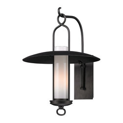 Troy Lighting - Graphite Carmel 1 Light 22 Outdoor Wall Lantern Sconce - The Carmel Collection features wide brimmed rain shades, wrought iron hangers and beautiful Opal White glass diffusers.