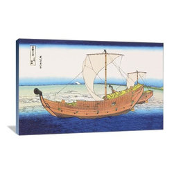 """Artsy Canvas - Sailing Ships At Sea 36"""" X 24"""" Gallery Wrapped Canvas Wall Art - Sailing Ships at Sea - Katsushika Hokusai (1760 beautifully represented on 36"""" x 24"""" high-quality, gallery wrapped canvas wall art"""